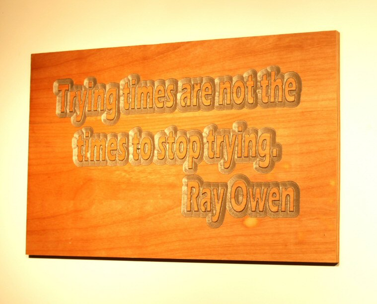 Trying times are not the times to stop trying. Ray Owen