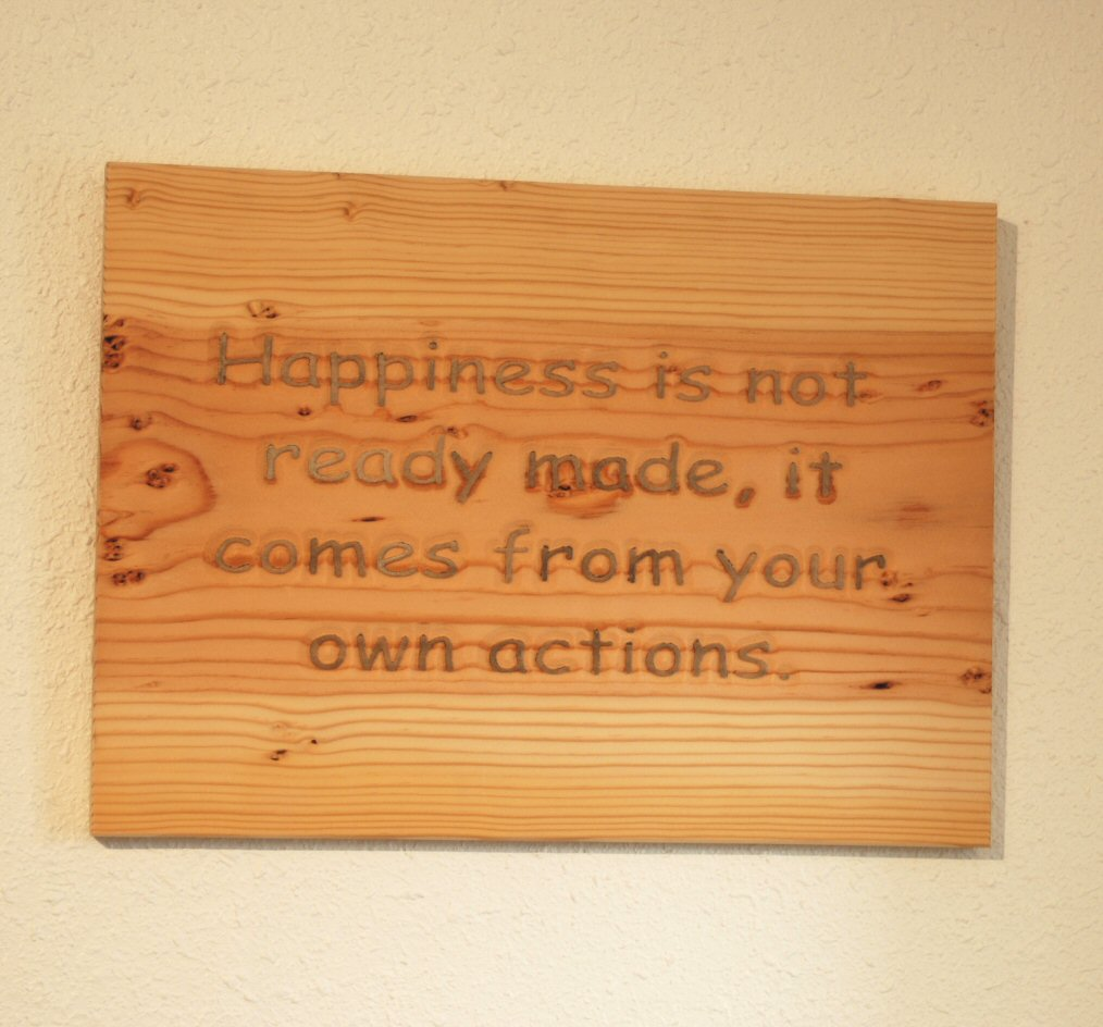 Happiness is not ready made, it comes from your own actions.