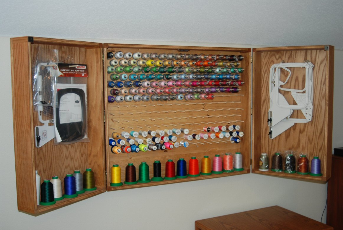 Sewing Thread Storage Wall Cabinets http://woodworkingbymike.com/_Sewing/Sewing_05.htm