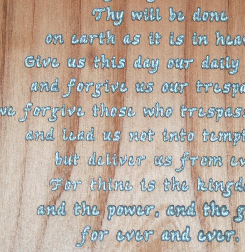 The Lords Prayer carved plaque