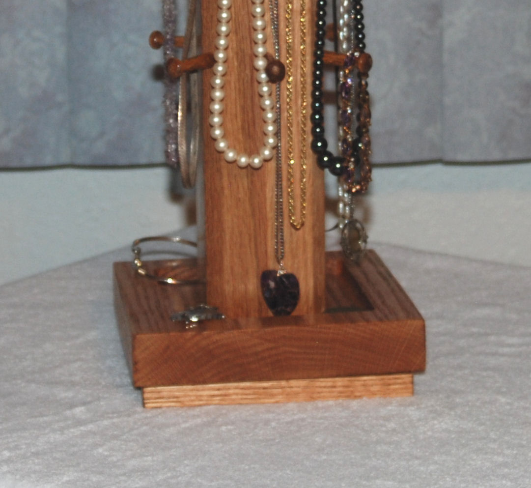 Necklace Tree Jewelry Display - Solid Oak