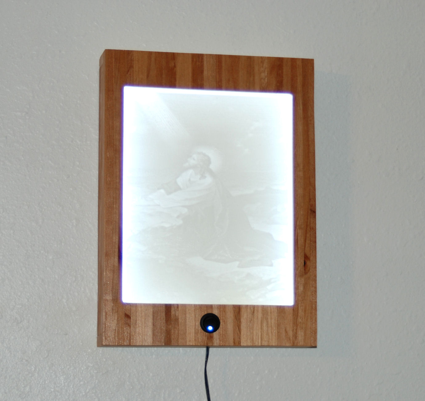 Jesus praying lithophane